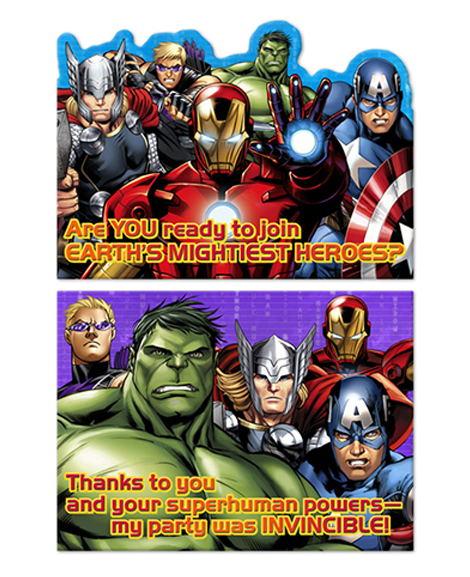 Avengers Assemble Invitations and Thank You Cards