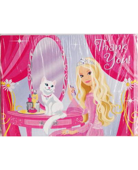 Barbie Perennial Princess Party Thank You Note Cards