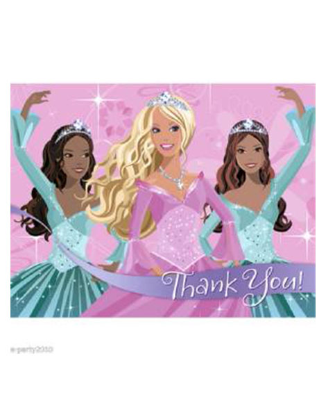 Barbie Perennial Princess Party Thank You Cards