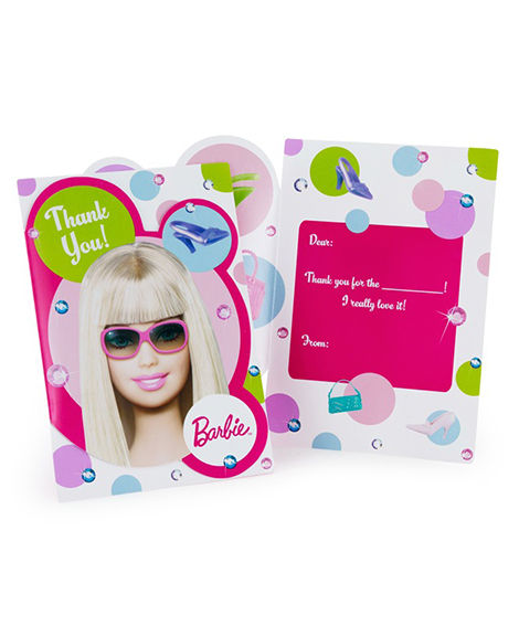 Barbie All Dolled Up Party Thank You Cards