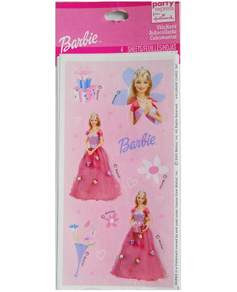 Barbie Celebration Birthday Party Favor Stickers