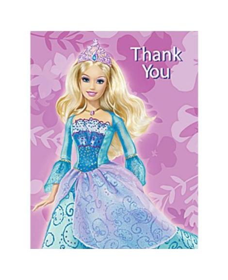 Barbie Island Princess Thank You Cards