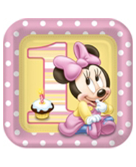 Minnie 1st Birthday Lunch Plates 8 Ct
