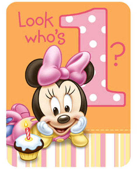 Minnie 39 s 1st birthday party invitations party quackers - Anniversaire bebe 1 an decoration ...