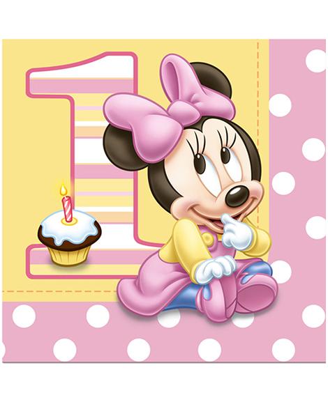 Minnie 1st Birthday Lunch Napkins 16 Ct