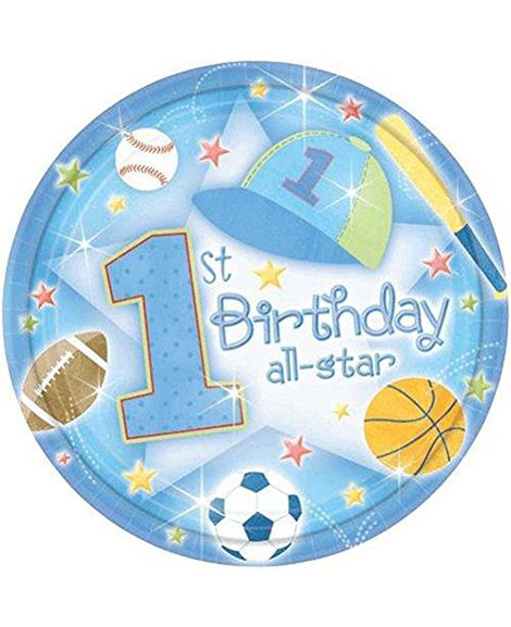 All Star 1st Birthday Lunch Plates 18 Ct
