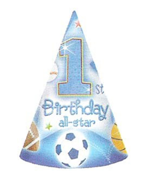 1st Birthday All Star Party Favor Cone Hats