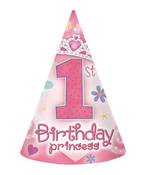 1st Birthday Princess Party Favor Cone Hats