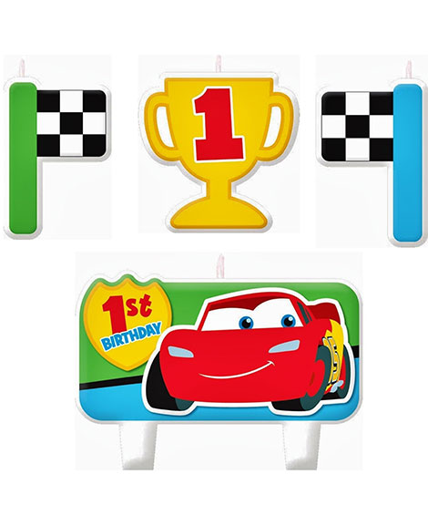 Disney Cars 1st Birthday Cake Topper Candle Set