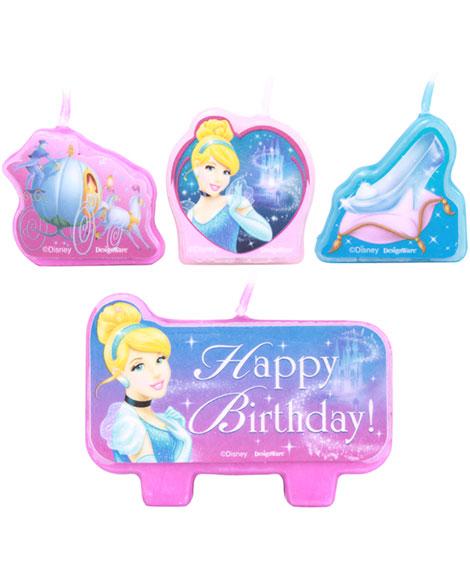 Cinderella Sparkle Cake Topper Candle Set 4 pc
