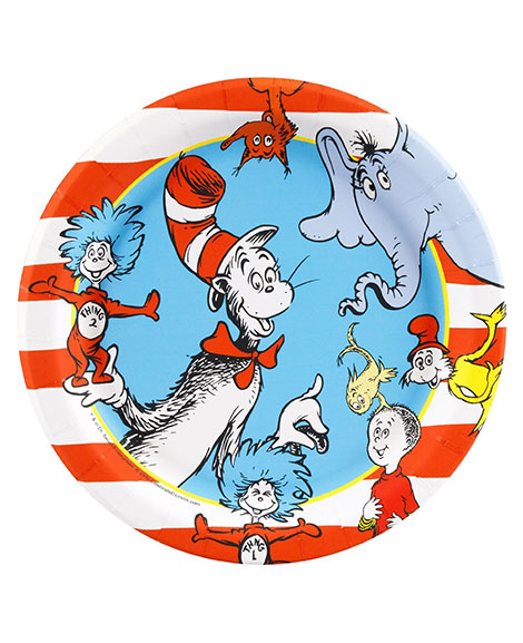 Dr Seuss Stripes Dessert Plates