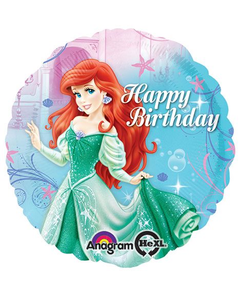 Little Mermaid Sparkle Happy Birthday 18 Inch Foil Mylar Balloon