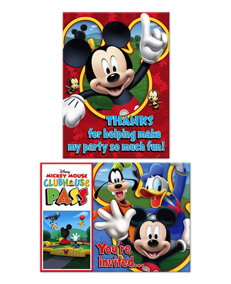 Mickey Playtime Party Invitations and Thank You Combo