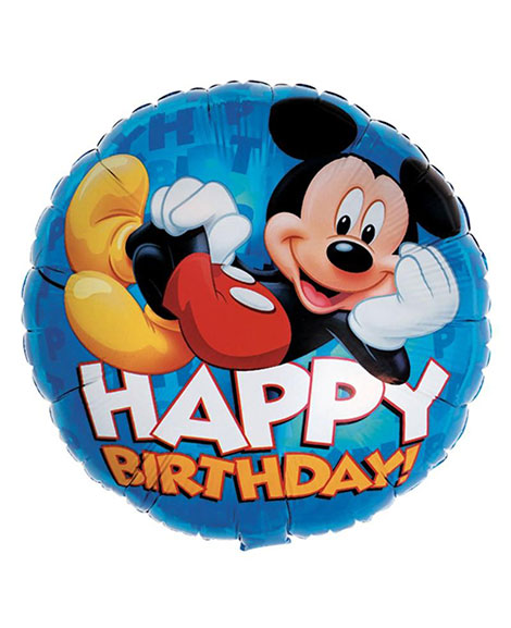 Mickey Mouse Happy Birthday Blue 18 Inch Round Foil Mylar Balloon
