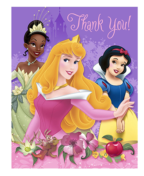 Disney Princess Dreams Party Thank You Cards