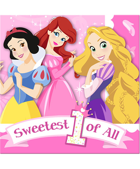 Disney Princess 1st Birthday Beverage Napkins