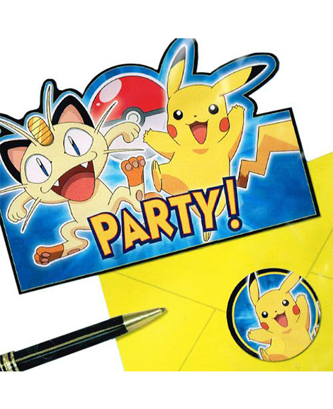 pokemon pikachu and friends save the date party invitations