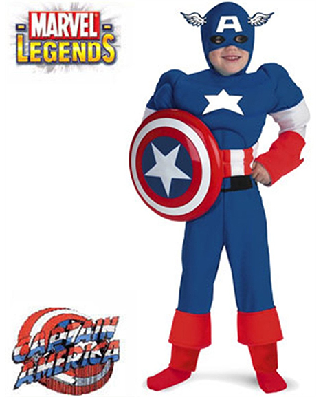 Captain America Deluxe Muscle Child Costume Medium 7-8