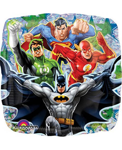Justice League Prismatic Foil Mylar 18 Inch Square Balloon