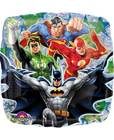 Justice League Prismatic Foil Mylar 18 Inch Square Balloon