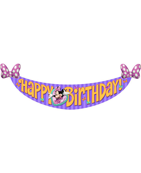 Minnie Mouse Bowtique Dreams Happy Birthday Banner