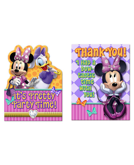 Minnie Mouse Bowtique Party Invitations and Thank You Combo
