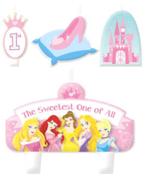 Disney Princess 1st Birthday Cake Topper Candle Set of 4 pieces