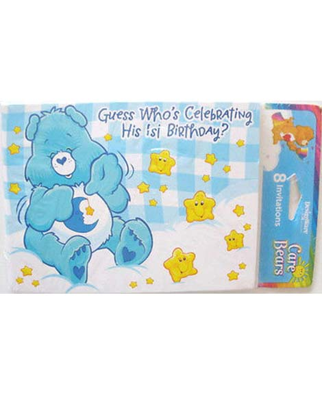 Care Bears Boys 1st Birthday Party Invitations