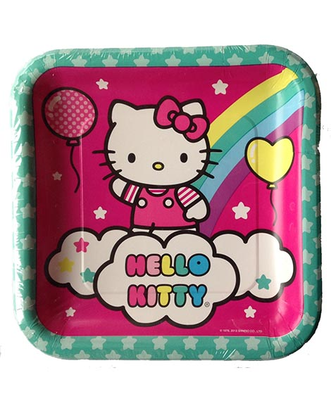 Hello Kitty Rainbow Balloon Square Lunch Plates