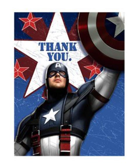 Captain America The First Avenger Party Thank You Cards