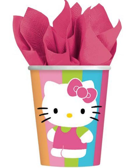 Hello Kitty Flower Stripes 9 oz Paper Cups