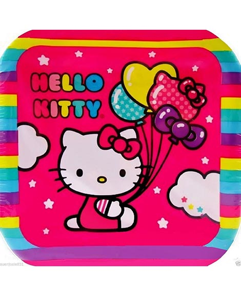 Hello Kitty Balloon Rainbow Dessert Plates