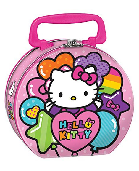Hello Kitty Rainbow Round Metal Tin Box Carry All