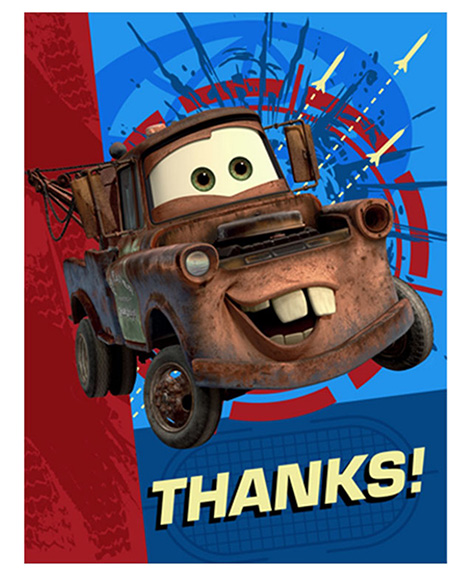 Disney Cars 2 Party Thank You Cards