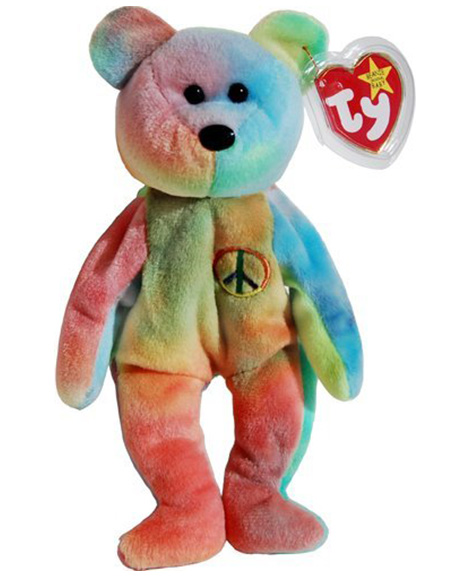 dacbef9ab45 Retired Ty Beanie Baby Peace The Bear