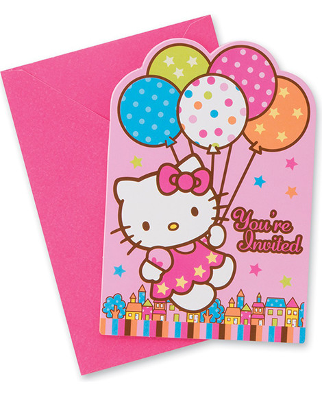 Hello Kitty Balloon Dreams Save The Date Party Invitations