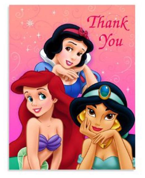 Disney Princess Ball Party Thank You Cards