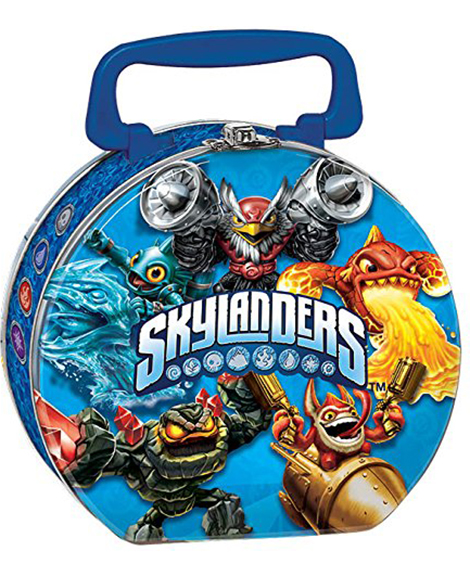 Skylanders Evergreen Round Metal Tin Box Carry All