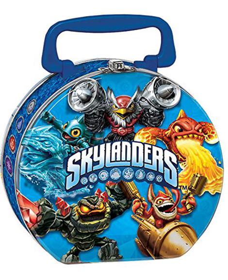 Skylanders Evergreen Round Metal Tin Box Carry All