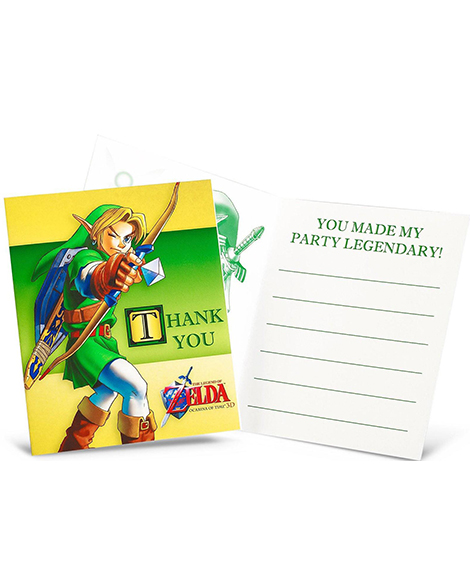 Legends of Zelda Party Thank You Cards