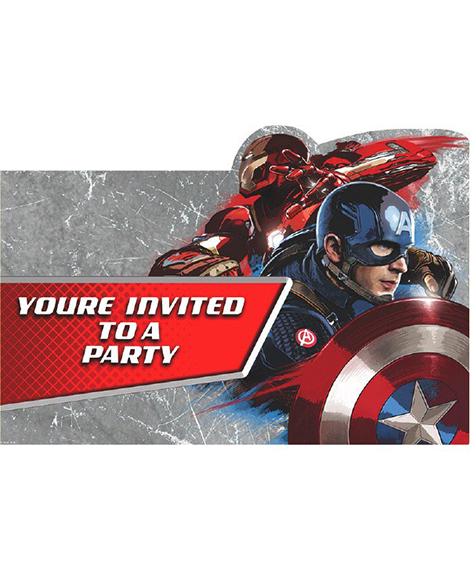 Captain America 3 Civil War Save The Date Party Invitations
