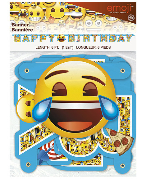 Emoji Unique Happy Birthday 6 Foot Jointed Banner