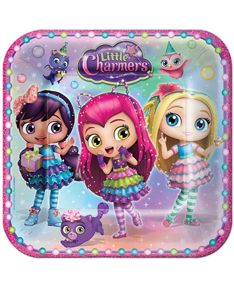 Little Charmers Square Lunch Plates 8 Ct
