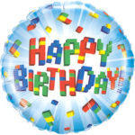 Block Party Happy Birthday 18 Inch Foil Mylar Balloon