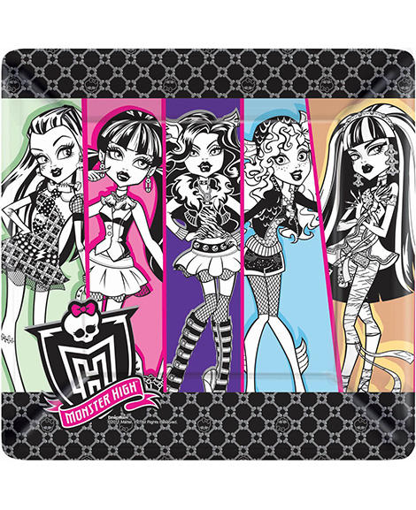 Monster High 10 Inch Square Flat Lunch Plates