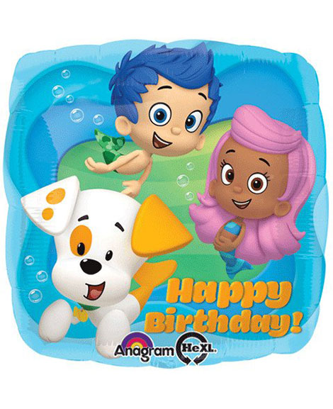 Bubble Guppies Happy Birthday 18 Inch Square Foil Mylar Balloon