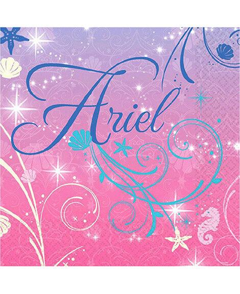 Little Mermaid Sparkle Ariel Beverage Napkins