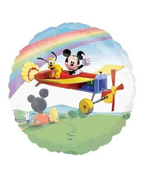 Mickey Mouse In Plane See Through Large 26 Inch Round Mylar Balloon