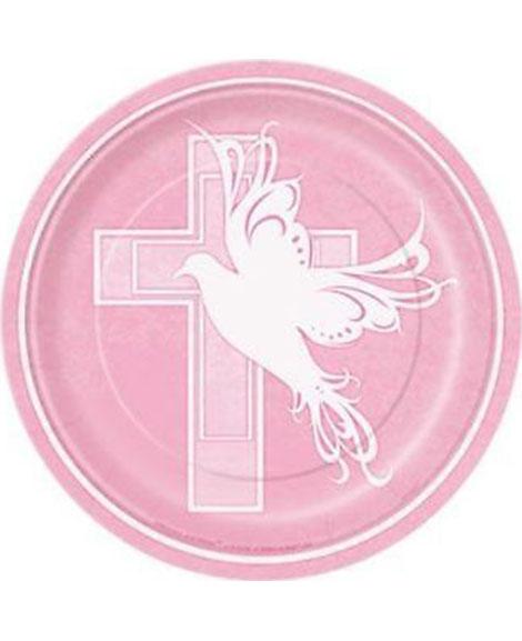 Dove Cross Pink Baptism Dessert Plates | Party Quackers