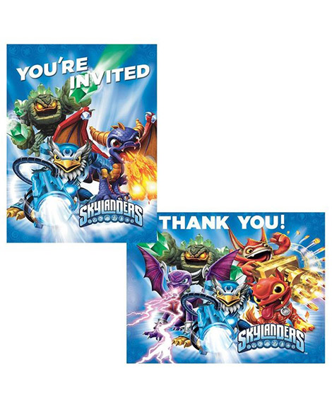 Skylanders Invitations And Thank You Postcard Combo